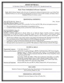 Resume Objective For Software Engineer by Exle Embedded Software Engineer Resume Sle