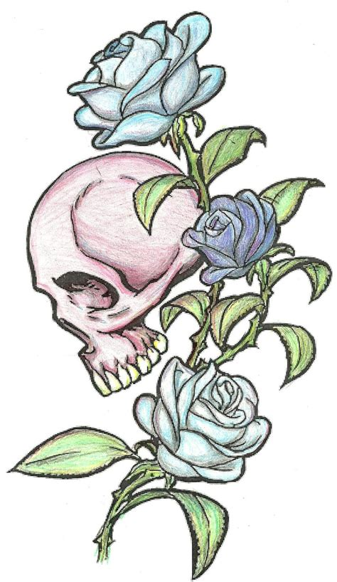 skull n roses by phantomsyren on deviantart
