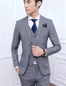 korean men two button slim fit coat pant vest 3 pcs sets