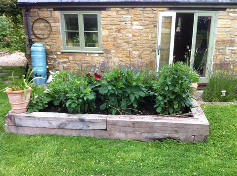 melisas raised railway sleeper vegetable bed