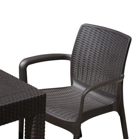 Rattan Patio Dining Set Outsunny 5 All Weather Rattan Style Wicker Outdoor Patio Dining Set Brown Outdoor