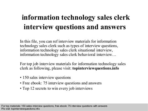 information technology sales clerk questions and answers