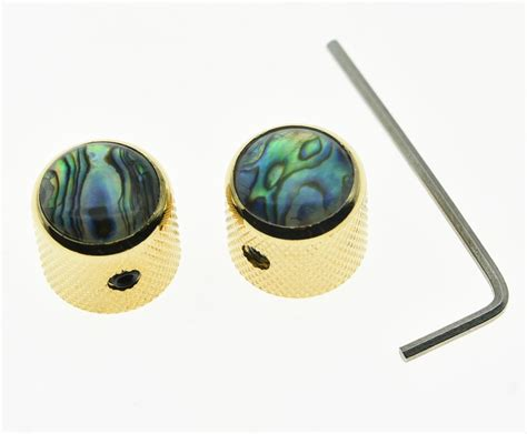 Abalone Guitar Knobs by 2x Set Abalone Top Gold Guitar Dome Knobs For Tele Telecaster Bass Knob Ebay
