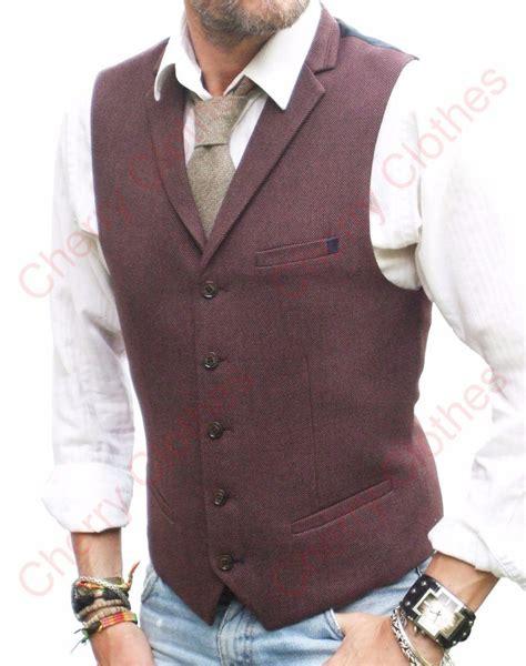 Vest Coat Maroon mens maroon lapel collar waistcoat slim fit vest tweed