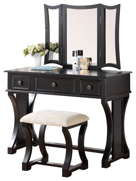 black bedroom vanity curved design 3 panel mirror vanity with stool drawer