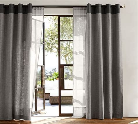 emery drapes emery border linen drape pottery barn