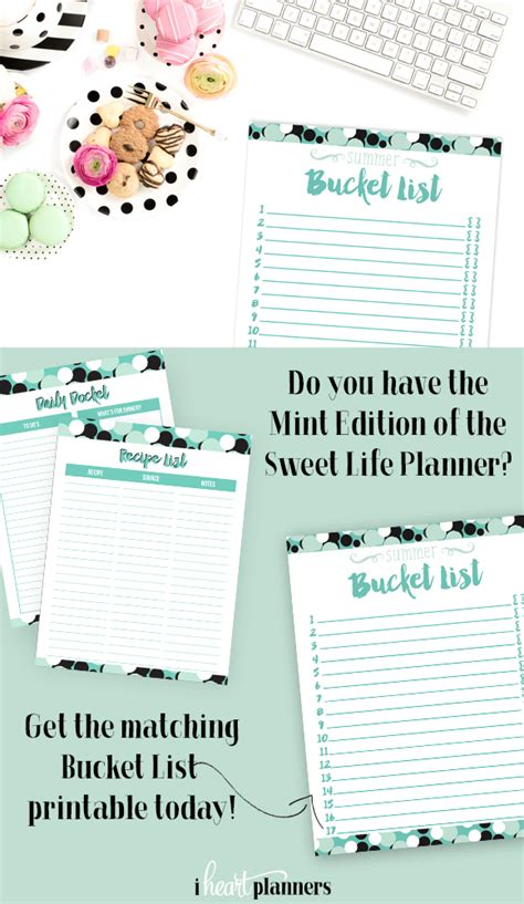 sweet life printable planner serenity edition free printable summer bucket lists i heart planners