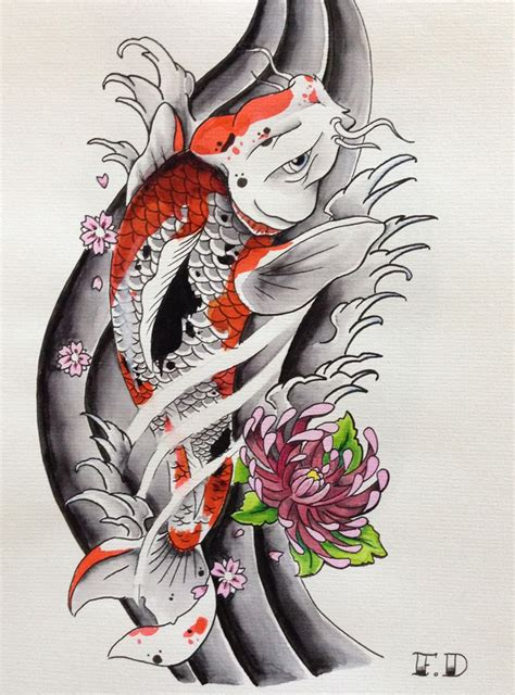 2 koi fish tattoo designs florian duenker japanese koi flash asia