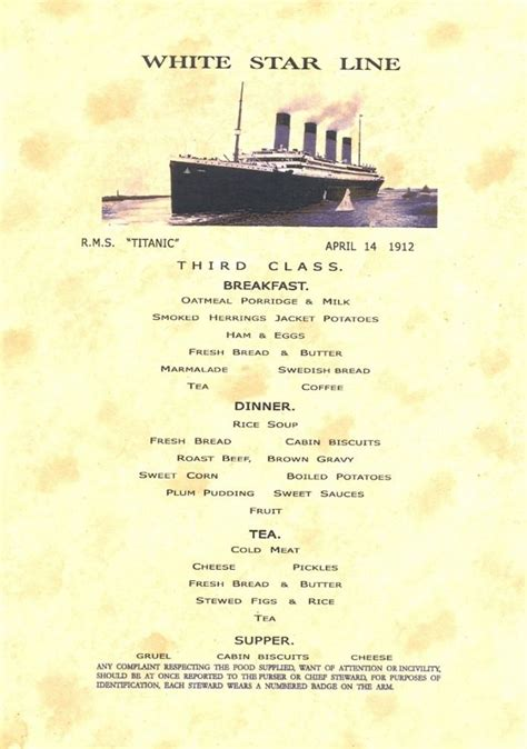 titanic menu titanic lunch menu picture of textmenu for third class