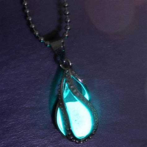 Z049 Ma Blue Necklace aliexpress buy creative water drop locket glow in