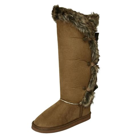 womens chestnut fur knee flat winter boots from buy uk
