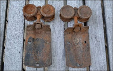 Two Old Sliding Barn Door Hardware Rollers Architectural Vintage Barn Door Rollers