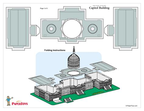 How To Make Paper Building Models - u s capitol building paper model paper toys and models