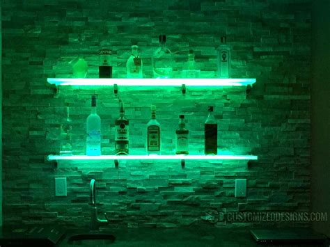 Lighted Wall Shelf by Led Lighted Shelves Back Bar Shelving For Home Bars