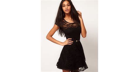 asos collection asos lace skater dress with belt in black