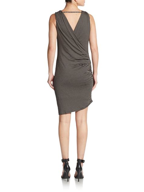 47429 Dress Hodie Avenue saks fifth avenue striped asymmetrical jersey dress in