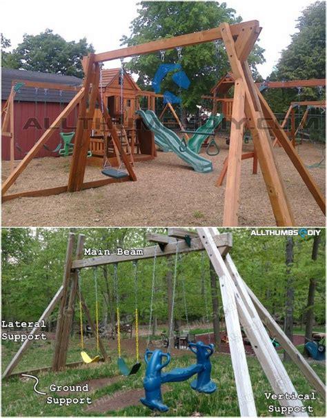 diy swings  turn  backyard   playground