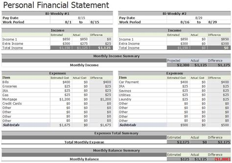 blank personal financial statement template example primary 7 for