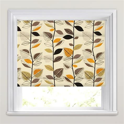 brown patterned roman blinds contemporary roman blinds cream black orange funky