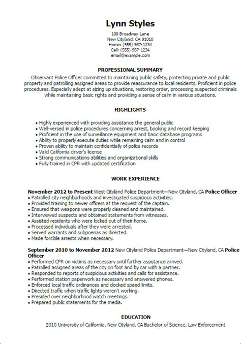 resume templates for a police officer professional police officer templates to showcase your