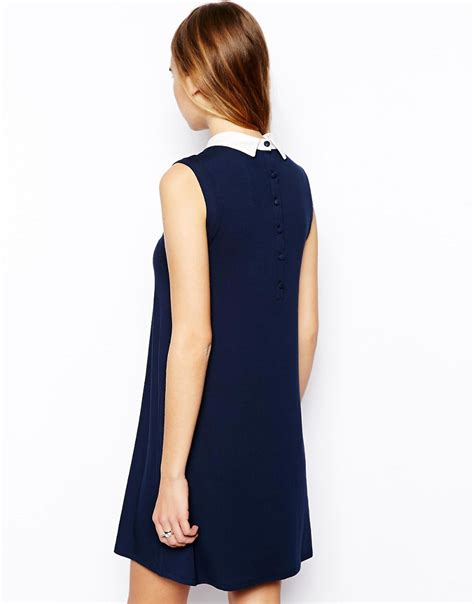 swing dress with collar asos asos sleeveless swing dress with contrast collar at