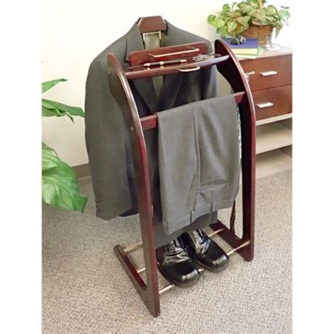 Mens Clothes Rack mens wardrobe valet suit stand wood clothing shoes butler organizer c