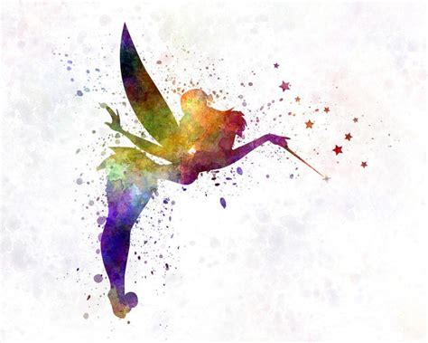 watercolor tattoo fairy superb rainbow watercolor silhouette with a wand