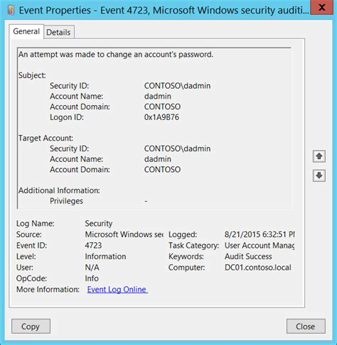 windows password reset event id 4723 s f an attempt was made to change an account s