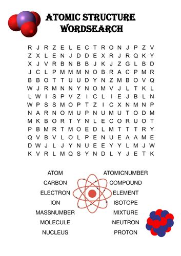chemistry word search atomic structure  ansellwill