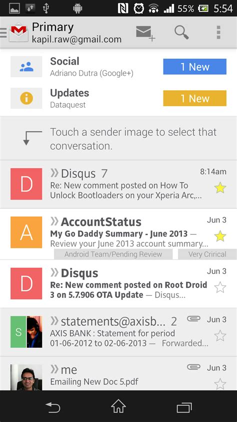gmail apk new gmail apk v4 5 with categories contact icons etc the android soul