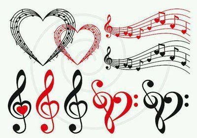 black white and red music notes and hearts by amberbateman