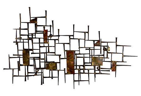 mid century modern wall sculpture mid century modern horseshoe nail copper wall sculpture