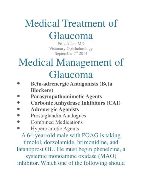 glaucoma treatment treatment of glaucoma
