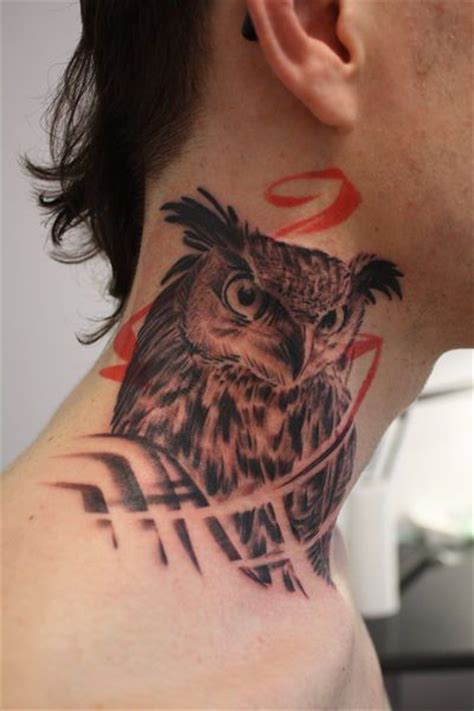 owl neck tattoo owl on the neck
