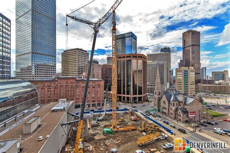 sitting denver two tower cranes go up in downtown denverinfill