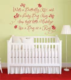 Wall Sticker Quotes For Nursery Butterfly Kiss Ladybug Hug Vinyl Wall Decal Baby Nursery