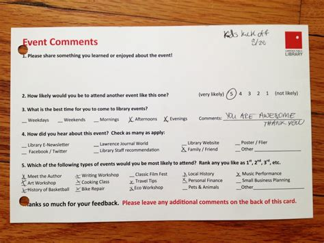 Event Comment Card Template by Feedback In The Library Sturdy For Common Things