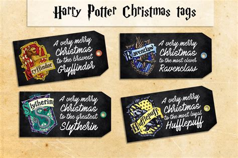 harry potter christmas printable gift tags diy tags for