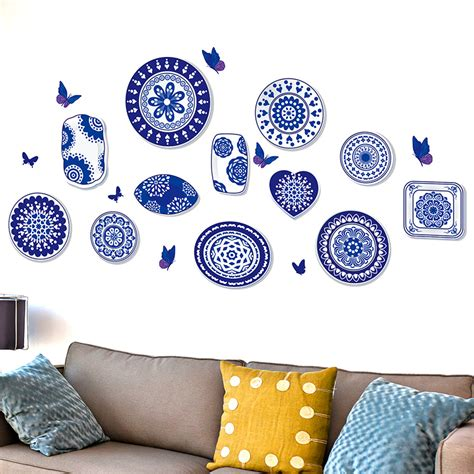 Home Decor White Porcelain Kitchen Shijuehezi Blue And White Porcelain Porcelain 3d Wall