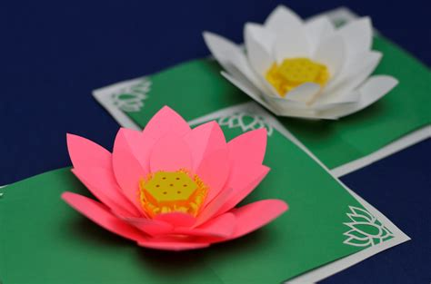 Lotus Flower Pop Up Card Template   Creative Pop Up Cards