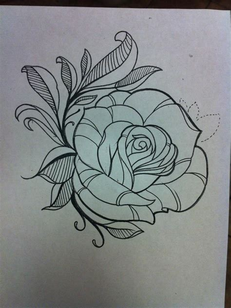 outline of a rose tattoo flower outlines design best designs