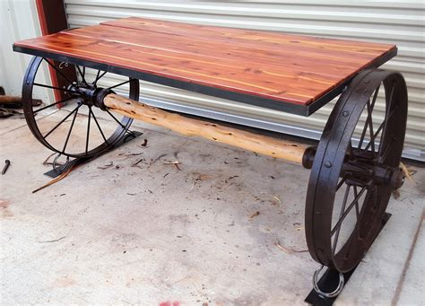 cedar and wagon wheel table sycamore creek creations