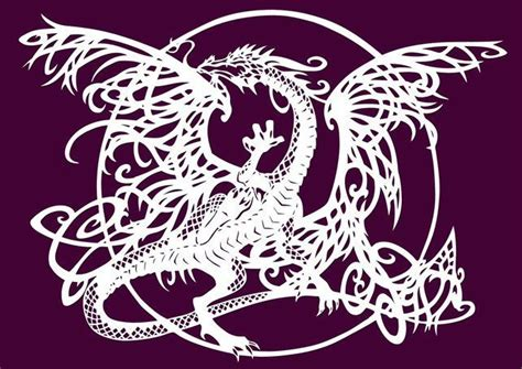 the tangle dragon paper cut fine art print