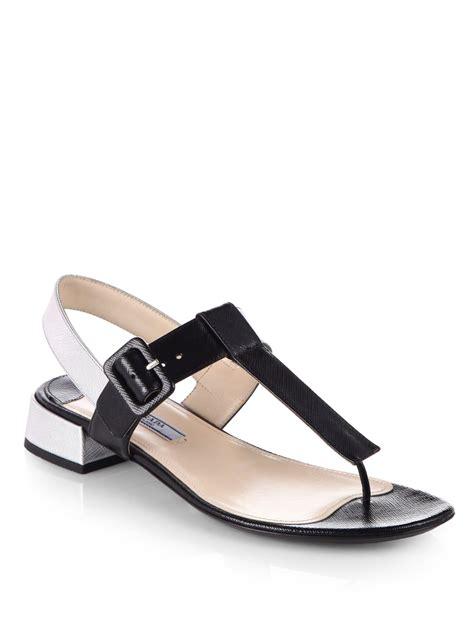 prada sandals prada bicolor saffiano metallic leather sandals in