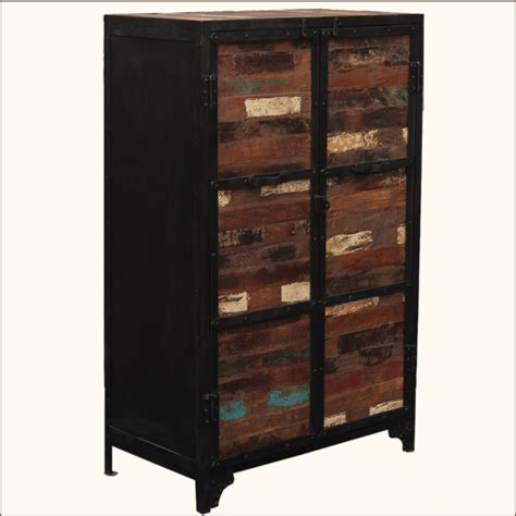 clothing storage armoire industrial reclaimed wood iron rustic storage clothing