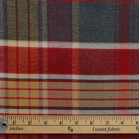 plaid curtain fabric designer discount linen look tartan check plaid curtain