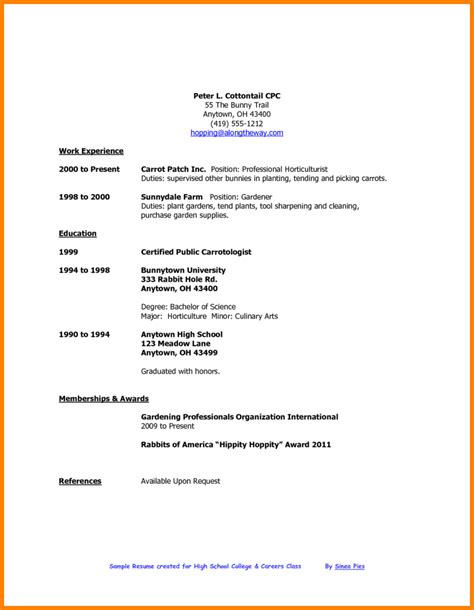 High School Resume For College Exles by Simple Resume Exles For College Students 28 Images