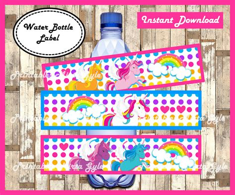 printable unicorn water bottle labels unicorn water bottle label printable rainbow party water