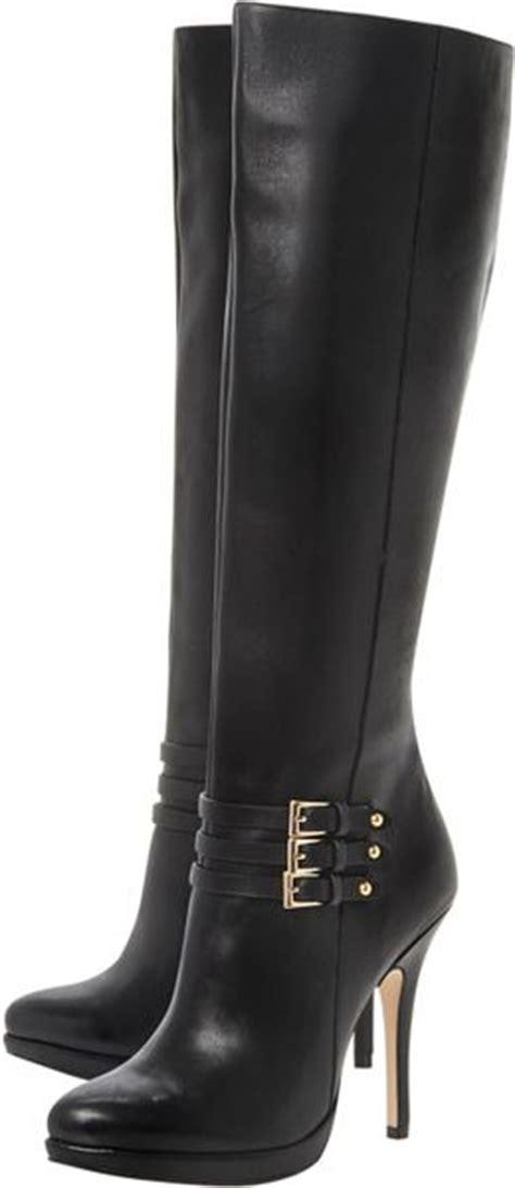 dune sorenity stiletto heel buckle knee high boots in
