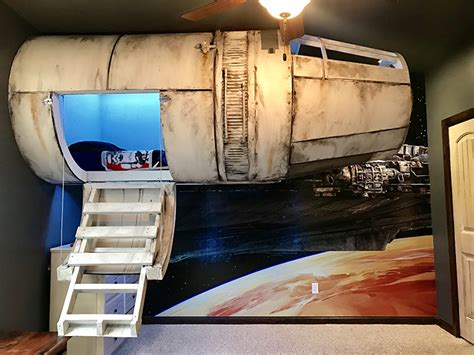 millenium falcon bed dad builds his son a star wars millennium falcon bed that